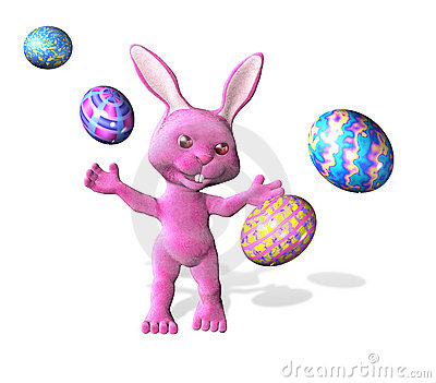 Easter Bunny with Colorful Eggs - with clipping path