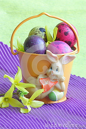 Easter bunny , eggs and flower - Stock photos