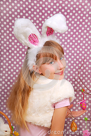 Easter bunny girl with funny ears