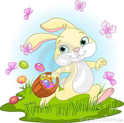Cartoon Easter Bunny Rabbit Holding Egg Stock Photos, Images ...
