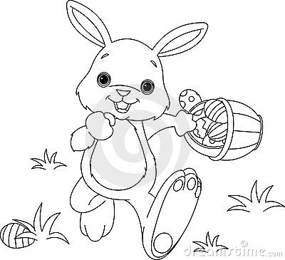 Free Easter Bunny Hiding Eggs Coloring Page Stock Photos - 13106263