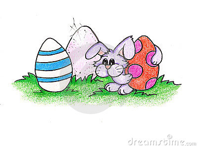 The Easter bunny and his eggs