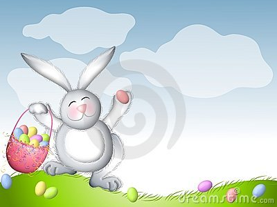 Easter Bunny Hopping With Basket of Eggs
