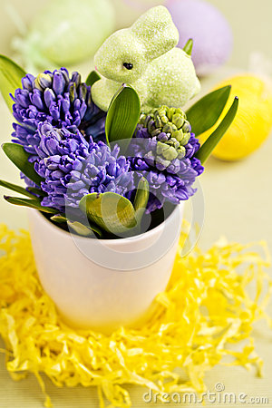 Easter bunny and hyacinths