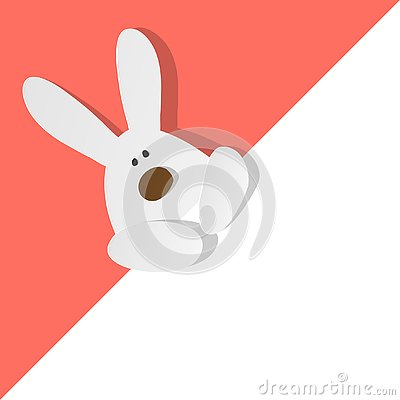 Free Easter Bunny In The Left Top Corner On A Coral Color Background Royalty Free Stock Photos - 145023228