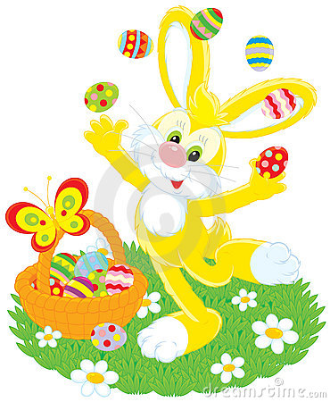 Easter Bunny juggles eggs