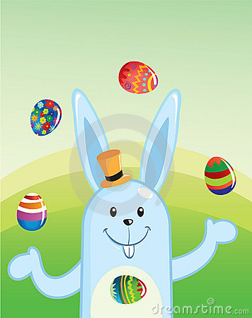 Easter Bunny Juggling Eggs
