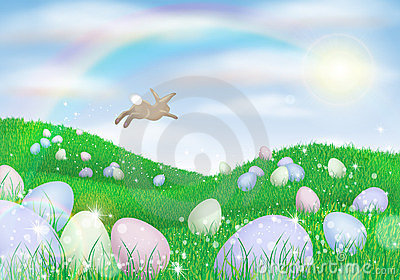 Easter bunny laying eggs
