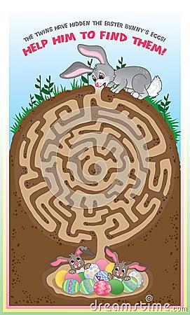 Maze book follow the bunny