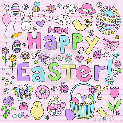 Easter Bunny Notebook Doodles Vector Set
