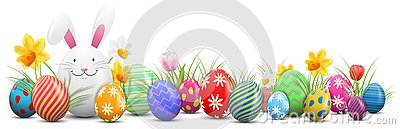 Easter bunny with painted easter eggs and flowers isolated Vector Illustration