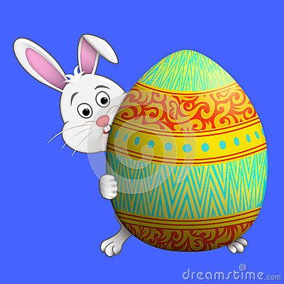 Easter bunny peeping round Easter ggg Stock Photo