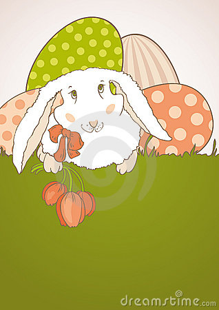 Easter Bunny with tulips