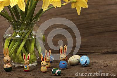 Easter Bunny under daffodils