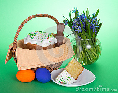 Easter Cake In A Basket Stock Photo Image 54483890