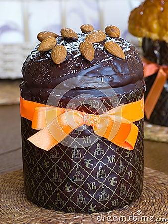 Easter cake with chocolate glaze