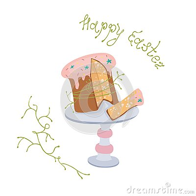 Easter cake with glaze on the stand. Vector Illustration