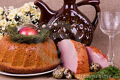 Easter cake and pork loin dish with quail eggs