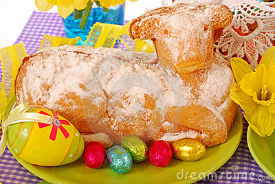 Easter cake in the shape of lamb