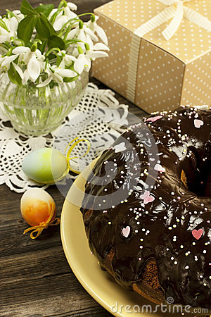 Free Easter Cake With Gift Box And Snowdrops Stock Image - 38906921