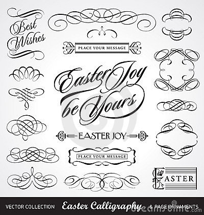 Free Easter Calligraphy Set (vector) Royalty Free Stock Photos - 19156488