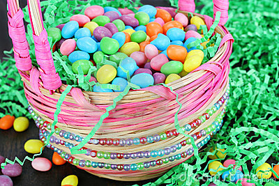 Easter candy in beaded Easter basket, close up.
