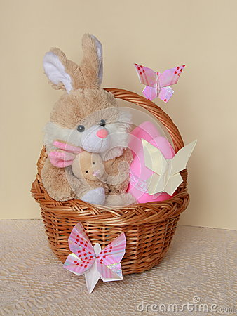 Easter Card - Bunny , Eggs in Basket - Stock Photo