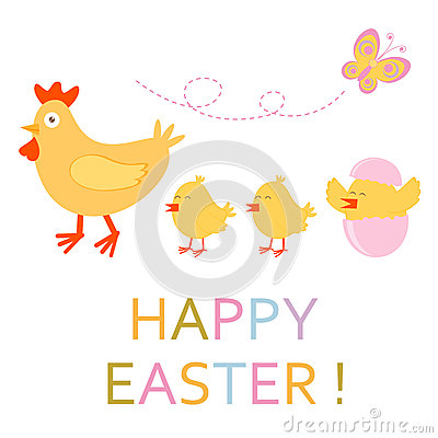 Easter card with chicken and chicks