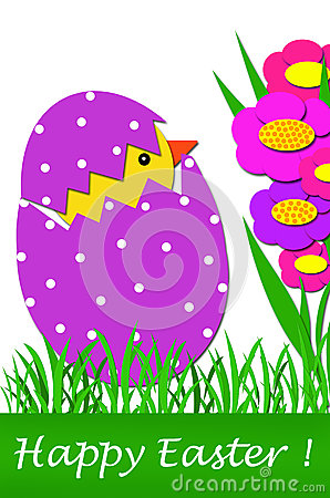 Easter card with chicken in egg