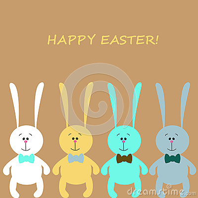 Easter card with colorful rabbits
