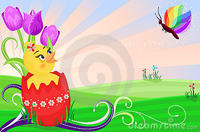 Easter card with cute chick