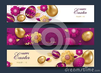 Easter card with gold ornate golden eggs on a light background. Vector .Place for your text. Golden eggs with small floral and Vector Illustration