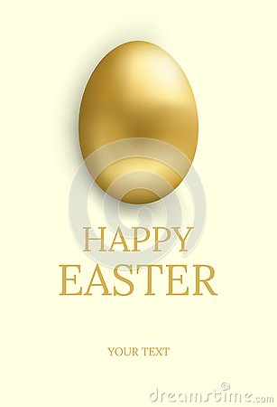 Easter card. Happy easter greetings card with golden egg and space for text. Vector illustration. Vector Illustration