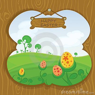 Easter card with landscape