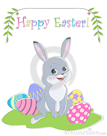 Easter card with a picture of a rabbit sitting on the grass, painted eggs, greeting labels and branches with leaves. Vector Illustration
