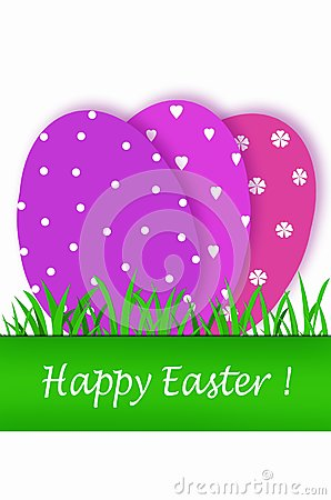 Easter card with purple tones eggs