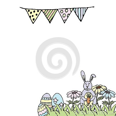 Easter card with rabbit, eggs and flowers Stock Photo