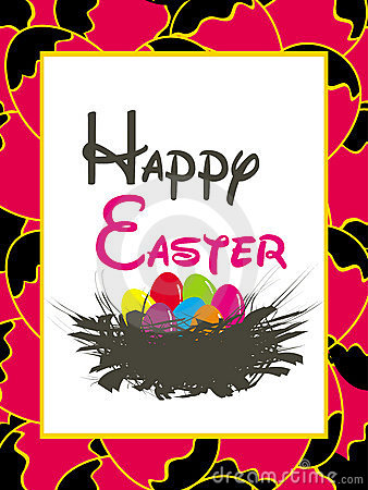 Easter card template - basket with colored eggs