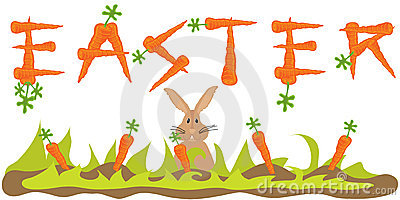 Easter Carrot Banner with Easter Bunny