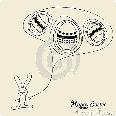 Easter cartoon bunny with eggs
