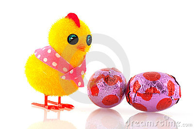 Easter chick with eggs
