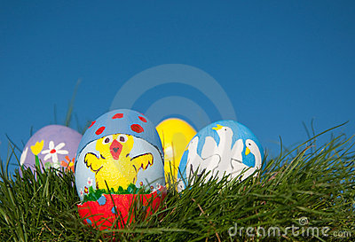 Easter chick painted on an egg shell