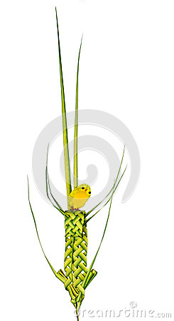 Easter chick and palm leaf decoration, isolated on white