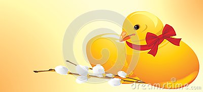 Easter chick and willow branch. Festive banner