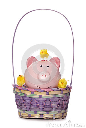 Free Easter Chicks And Piggy Bank In A Basket Cut Out Stock Photography - 29245882