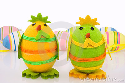 Easter chicks and colorful eggs