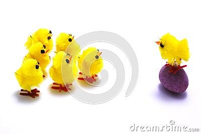 Easter chicks and egg