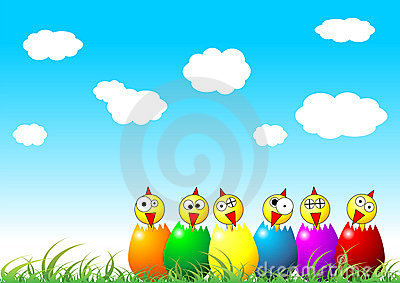 Easter chicks on grass
