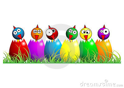 Easter chicks over white