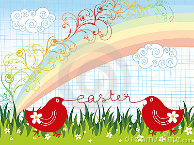 Easter chicks rainbow swirls